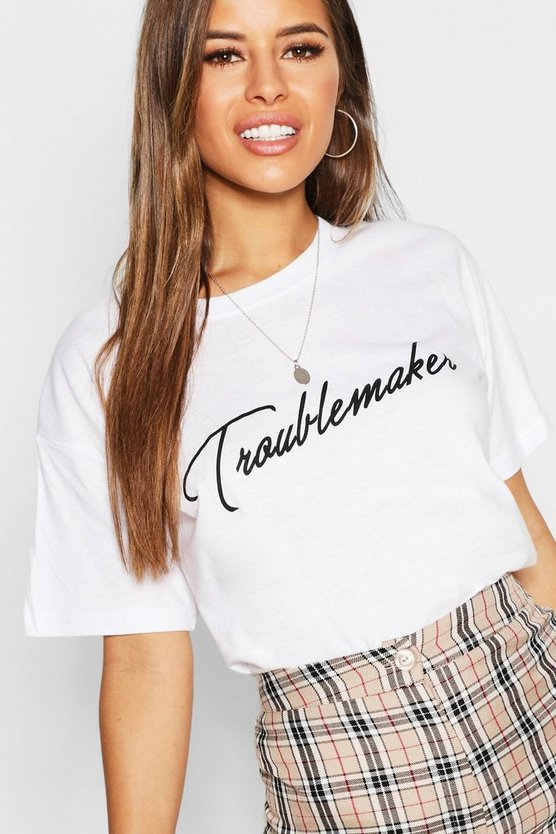 Womens White Petite Troublemaker Slogan T-Shirt