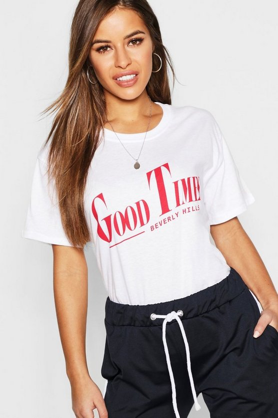 T-shirt à slogan Good Times Petite