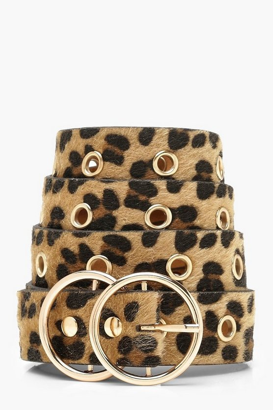 Womens Brown Plus Double Ring Leopard Belt