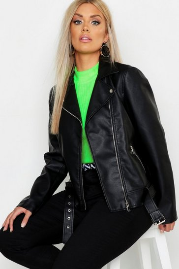 Womens Black Plus Belted Faux Leather Biker Jacket