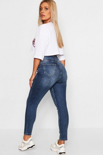 Womens Mid blue Plus Butt Shaper Mid Rise Skinny Jean
