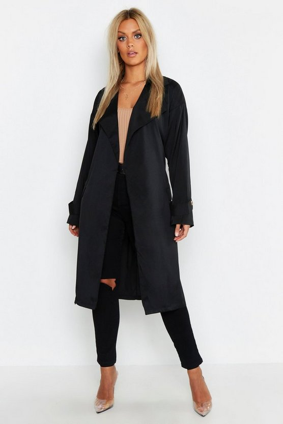 Womens Black Plus Soft Trench Coat