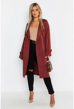 Womens Chocolate Plus Soft Trench Coat