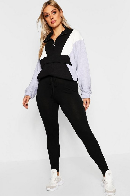 Plus Jersey Mock Tie Waist Leggings