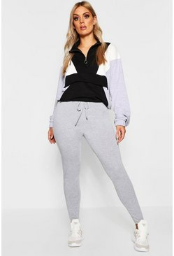 Womens Grey marl Plus Jersey Mock Tie Waist Leggings