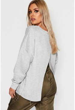 Womens Grey Plus Split Back Sweat Top