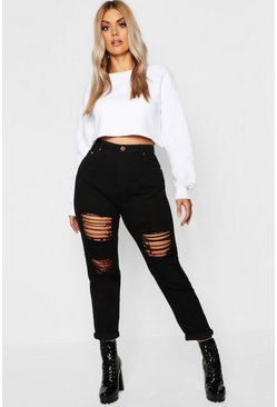 Womens Black Plus All Over Ripped Jean