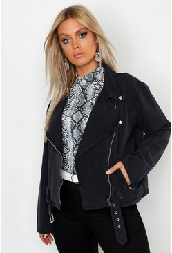 Womens Plus Washed Black Denim Biker Jacket