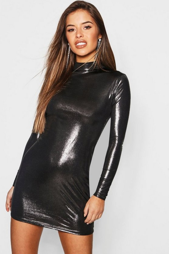 Petite Metallic Rib Turtle Neck Dress