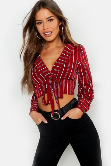 Womens Wine Petite Woven Cropped Tie Front Shirt