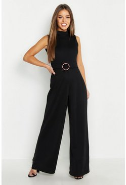 Womens Black Petite High Neck Belted Jumpsuit