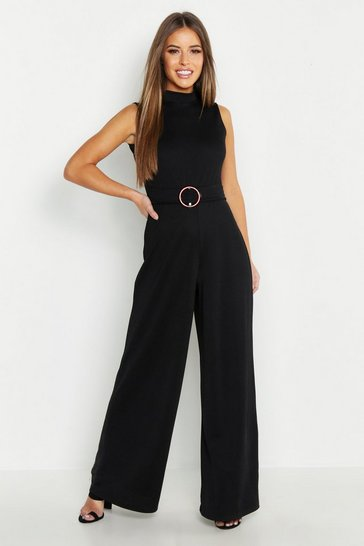 Womens Petite High Neck Belted Jumpsuit