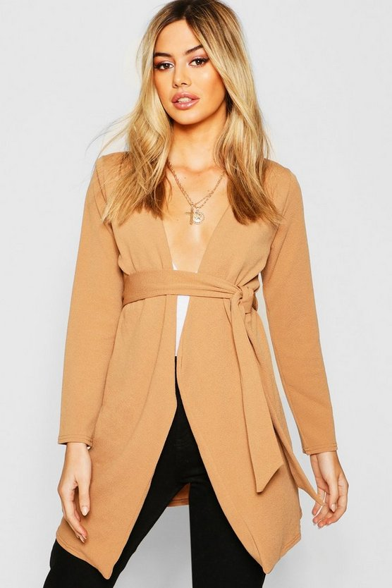 Petite Mock Horn Buckle Belted Duster Jacket