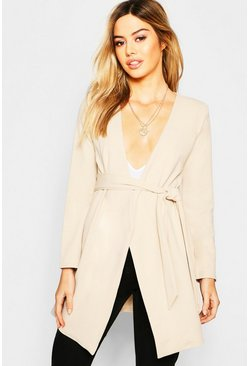 Womens Stone Petite Mock Horn Buckle Belted Duster Jacket