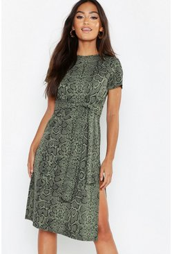 Womens Khaki Petite Snake Print Belted Midi Dress