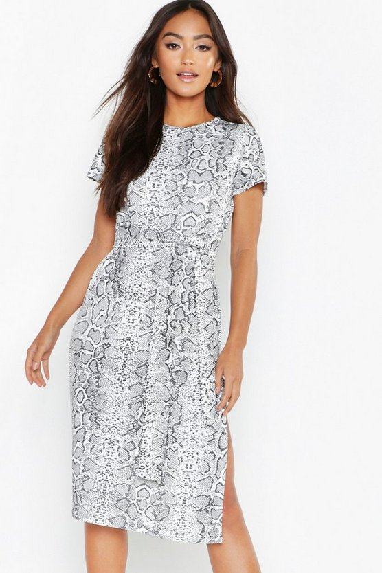 Womens White Petite Snake Print Belted Midi Dress