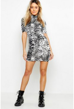 Womens Multi Petite Zebra Print High Neck Bodycon Mini Dress