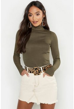 Womens Khaki Petite Knitted Slinky Rib Polo Neck