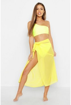 Womens Yellow Petite Solid Colour Sarong