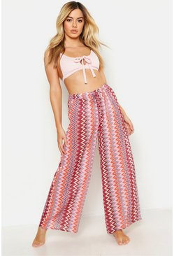 Womens Pink Petite Zigzag Beach Trousers