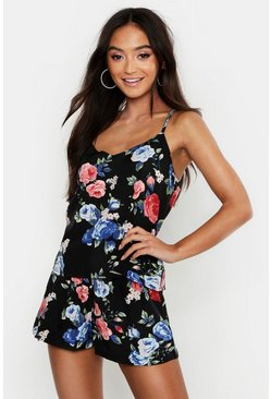 Womens Black Petite Floral Cami & Short Pj Set