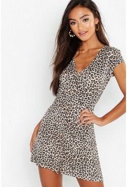 Womens Black Petite Leopard Print Button Through Swing Dress