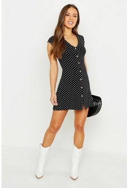 Womens Black Petite Cap Sleeve Button Polka Dot Swing Dress