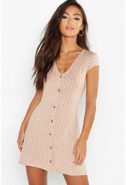 Camel Petite Cap Sleeve Button Polka Dot Shift Dress