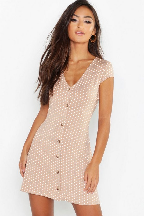 Womens Camel Petite Cap Sleeve Button Polka Dot Swing Dress