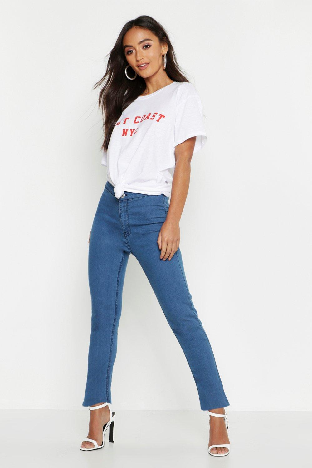 Petite High Rise One Button Skinny Jean