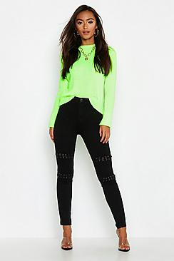Petite Lace Up Detail Skinny Jean