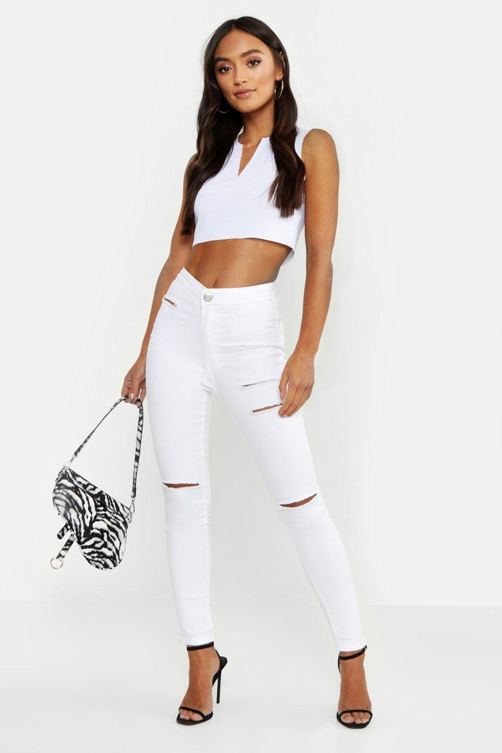 Petite White Distressed Skinny Jeans