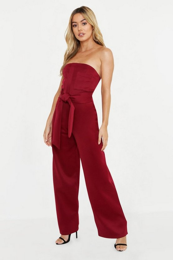Womens Berry Petite Scuba Pocket Detail Belted Jumpsuit