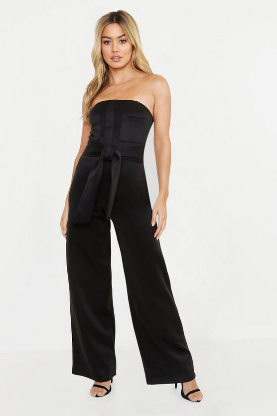 Womens Black Petite Scuba Pocket Detail Belted Jumpsuit