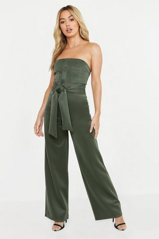 Womens Khaki Petite Scuba Pocket Detail Belted Jumpsuit