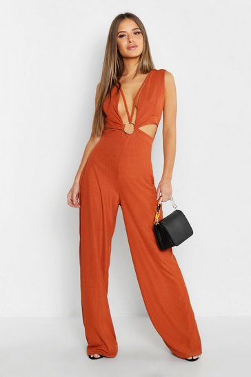 Womens Rust Petite Rib O-Ring Wide Leg Jumpsuit