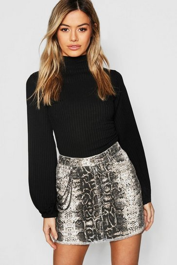 Black Petite Turtle Neck Volume Sleeve Rib Top