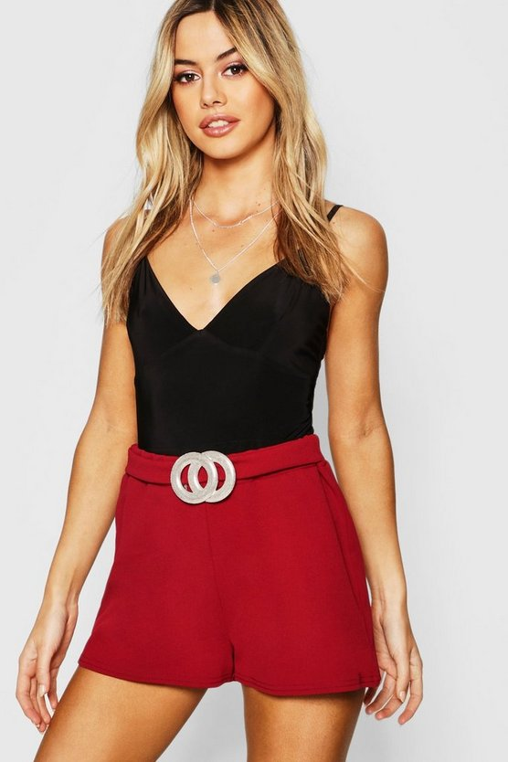 Petite Crepe Belted Shorts