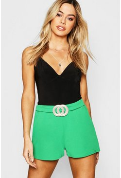 Womens Emerald Petite Crepe Belted Shorts