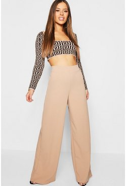 Stone Petite High Waisted Wide Leg Trouser