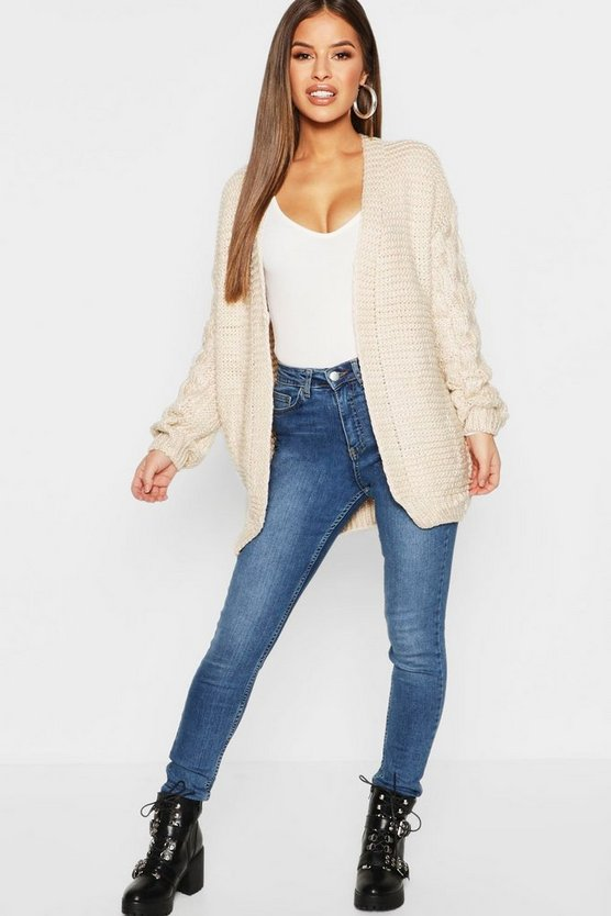 Womens Beige Petite Cable Sleeve Detail Chunky Cardigan