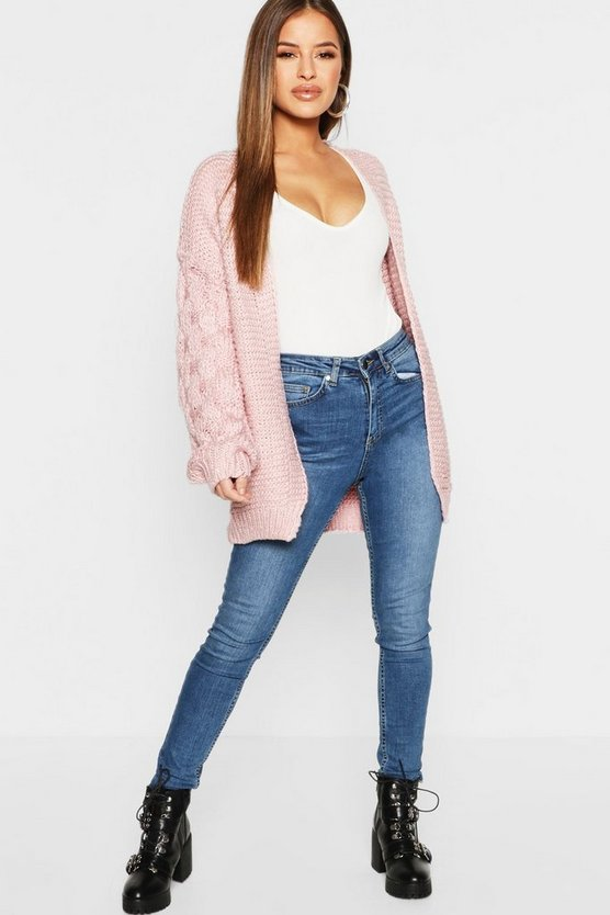 Petite Cable Sleeve Detail Chunky Cardigan Petite Cable Sleeve Detail Chunky Cardigan by Boohoo