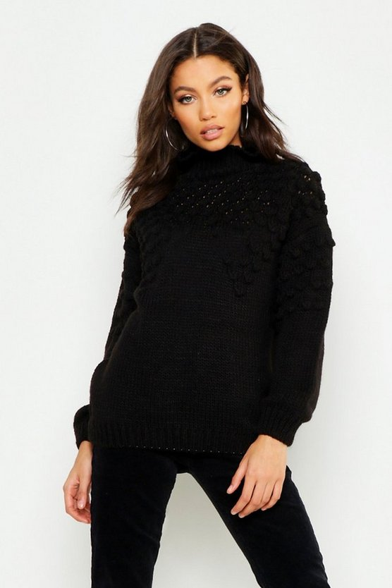 Womens Black Petite Bobble Front Chunky Roll Neck Jumper