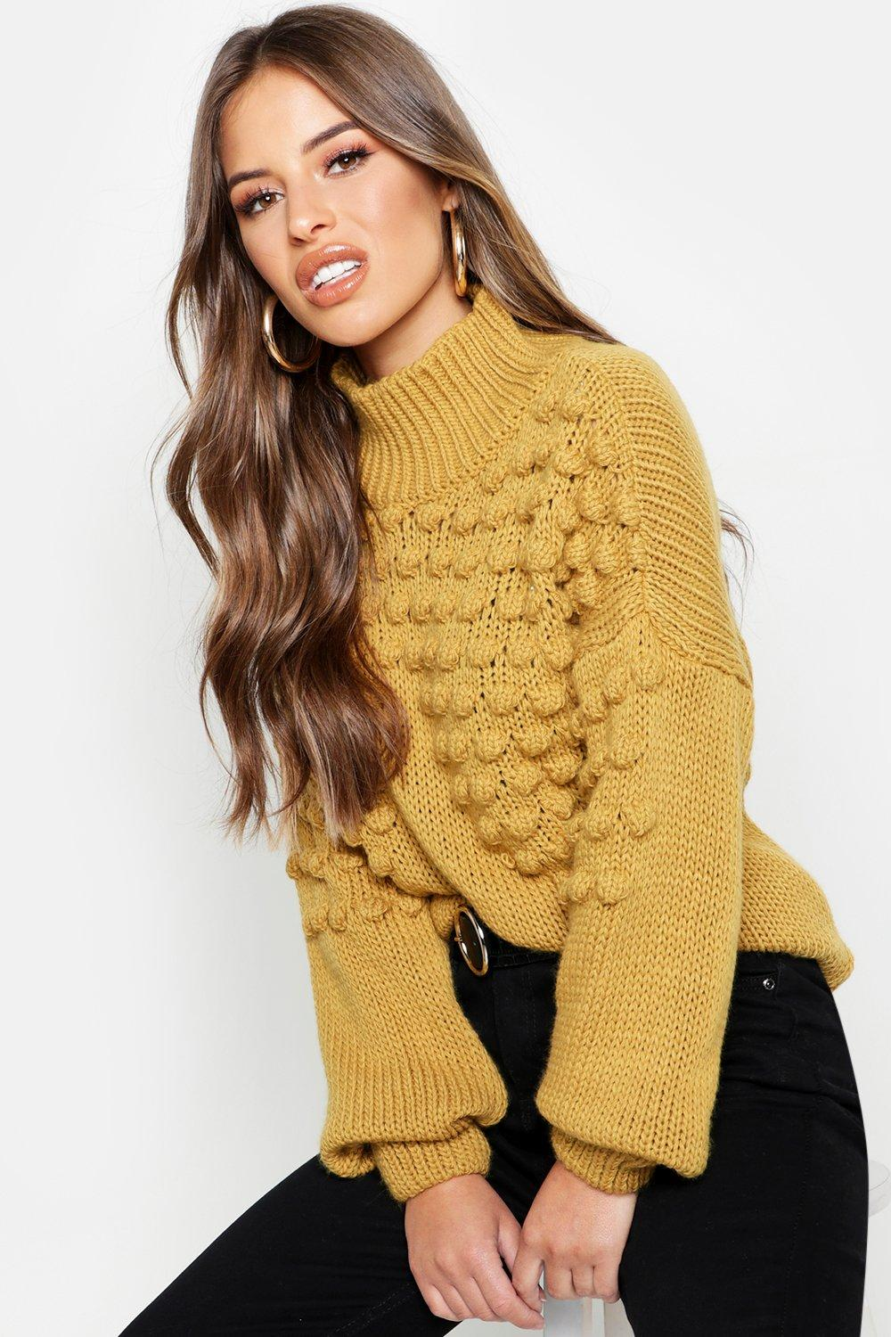 Petite Bobble Front Chunky Roll Neck Jumper