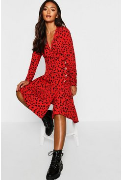 Womens Petite Red Dalmatian Print Button Midi Dress