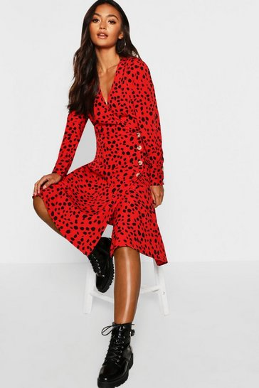 Petite Red Dalmatian Print Button Midi Dress