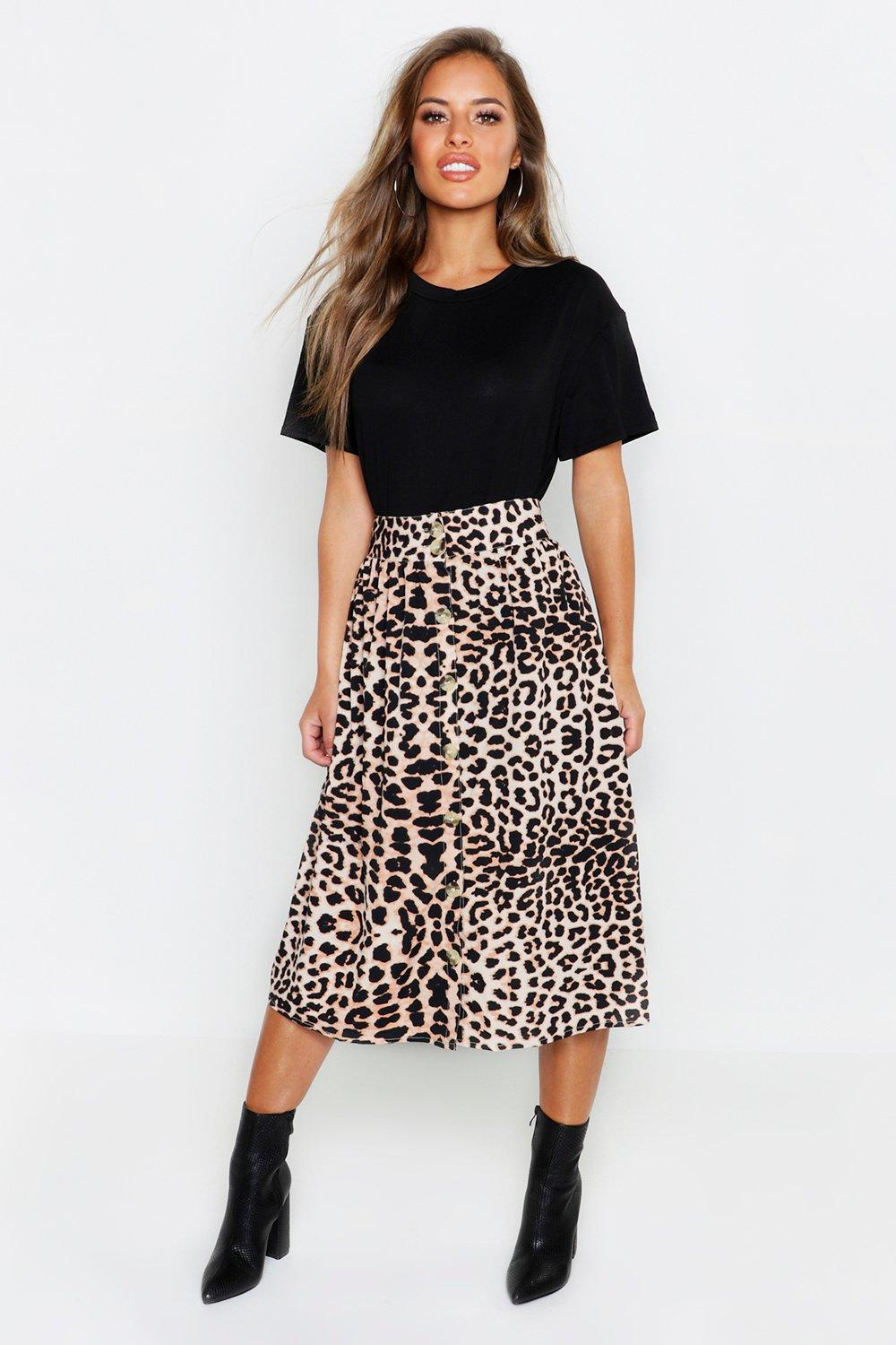 Petite Leopard Button Through Midi Skirt