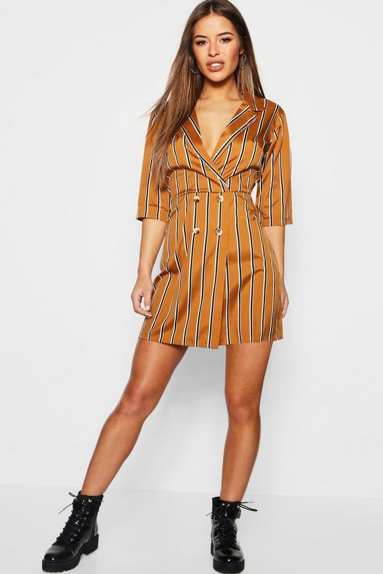 Mustard Petite Button Detail Striped Dress