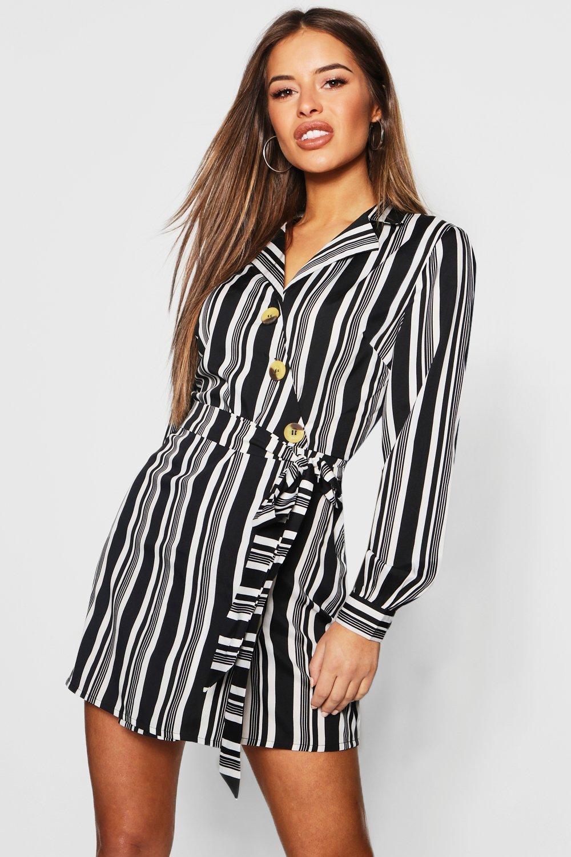 Petite Button Front Wrap Midi Dress