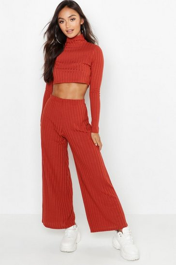 Womens Rust Petite Rib Knit Turtle Neck Co-Ord